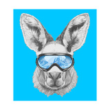 Portrait of Kangaroo with Ski Goggles. Hand Drawn Illustration. Premium Giclee Print by  victoria_novak
