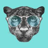 Portrait of Panther with Glasses. Hand Drawn Illustration. Plakater af  victoria_novak