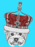 Portrait of Yorkshire Terrier Dog with Crown. Hand Drawn Illustration. Posters by  victoria_novak