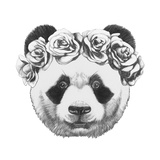 Original Drawing of Panda with Roses. Isolated on White Background Premium Giclee Print by  victoria_novak