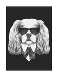 Portrait of Cavalier King Charles Spaniel in Suit. Hand Drawn Illustration. Posters by  victoria_novak
