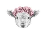 Portrait of Lamb with Floral Head Wreath. Hand Drawn Illustration. Posters par  victoria_novak