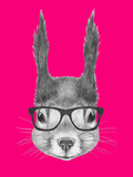 Portrait of Squirrel with Glasses. Hand Drawn Illustration. Prints by  victoria_novak