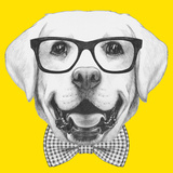 Portrait of Labrador with Glasses and Bow Tie. Hand Drawn Illustration. Art by  victoria_novak