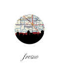 Fresno Map Skyline Prints