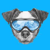 Portrait of Jack Russell Dog with Ski Goggles. Hand Drawn Illustration. Posters by  victoria_novak
