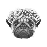 Original Drawing of Pug Dog with Floral Head Wreath. Isolated on White Background Prints by  victoria_novak