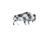 Geometric Grey Buffalo Prints by Melinda Wood