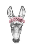 Portrait of Donkey with Floral Head Wreath. Hand Drawn Illustration Posters af  victoria_novak