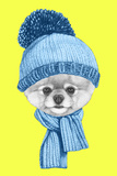 Portrait of Pomeranian with Santa Hat. Hand Drawn Illustration. Poster by  victoria_novak