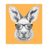 Portrait of Kangaroo with Glasses. Hand Drawn Illustration. Plakater af victoria_novak