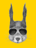 Portrait of Squirrel with Sunglasses. Hand Drawn Illustration. Posters by  victoria_novak