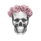 Original Drawing of Ram with Roses. Isolated on White Background Lámina por victoria_novak