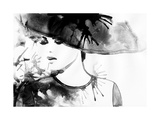 Beautiful Face. Woman Portrait with Hat. Abstract Watercolor .Fashion Background Posters by Anna Ismagilova