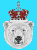 Portrait of Polar Bear with Crown. Hand Drawn Illustration. Poster by  victoria_novak
