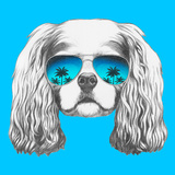 Portrait of Cavalier King Charles Spaniel with Mirror Sunglasses. Hand Drawn Illustration. Posters by  victoria_novak