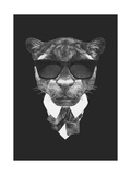 Portrait of Panther in Suit. Hand Drawn Illustration. Posters by  victoria_novak