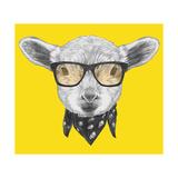 Portrait of Lamb with Glasses and Scarf. Hand Drawn Illustration. Print van  victoria_novak