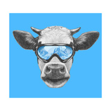 Portrait of Cow with Ski Goggles. Hand Drawn Illustration. Premium Giclee Print by  victoria_novak