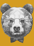Original Drawing of Bear with Glasses and Bow. Isolated on Colored Background Print by  victoria_novak