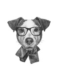Original Drawing of English Bulldog with Mirror Sunglasses. Isolated on White Background Prints by  victoria_novak