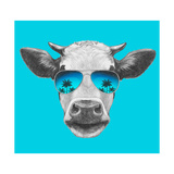 Portrait of Cow with Mirror Sunglasses. Hand Drawn Illustration. Art by  victoria_novak