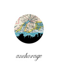 Anchorage Map Skyline Posters