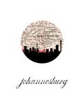 Johannesburg Map Skyline Posters