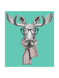 Portrait of Moose with Glasses and Scarf. Hand Drawn Illustration. Prints by  victoria_novak