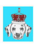 Portrait of Dalmatian Dog with Crown. Hand Drawn Illustration. Posters af  victoria_novak