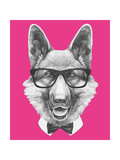 Portrait of German Shepherd with Glasses and Bow Tie. Hand Drawn Illustration. Posters by  victoria_novak
