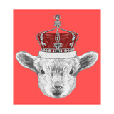 Portrait of Lamb with Crown. Hand Drawn Illustration. Art by  victoria_novak