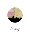 Lansing Map Skyline Prints