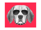 Portrait of Beagle Dog with Sunglasses and Collar. Hand Drawn Illustration. Posters by  victoria_novak