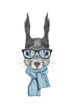 Portrait of Squirrel with Scarf and Glasses. Hand Drawn Illustration. Plakat av  victoria_novak