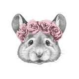 Portrait of Mouse with Floral Head Wreath. Hand Drawn Illustration. Arte por  victoria_novak