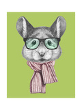 Portrait of Mouse with Scarf and Glasses. Hand Drawn Illustration. Art by  victoria_novak