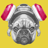 Portrait of French Bulldog with Gas Mask. Hand Drawn Illustration Poster by  victoria_novak