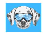 Portrait of Dalmatian with Ski Goggles. Hand Drawn Illustration. Posters af  victoria_novak