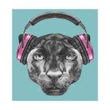 Portrait of Panther with Headphones. Hand Drawn Illustration. Kunst af victoria_novak