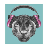 Portrait of Panther with Headphones. Hand Drawn Illustration. Sztuka autor victoria_novak