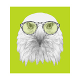 Portrait of Eagle with Glasses. Hand Drawn Illustration. Poster by  victoria_novak