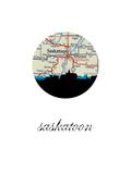 Saskatoon Map Skyline Posters