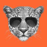 Original Drawing of Leopard with Sunglasses. Isolated on Colored Background Poster by  victoria_novak