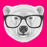 Portrait of Polar Bear with Glasses. Hand Drawn Illustration. Prints by  victoria_novak