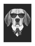 Portrait of Beagle Dog in Suit. Hand Drawn Illustration. Prints by  victoria_novak