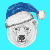 Portrait of Polar Bear with Santa Hat and Sunglasses. Hand Drawn Illustration. Posters by  victoria_novak