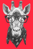 Portrait of Giraffe with Glasses and Scarf. Hand Drawn Illustration. Prints by  victoria_novak