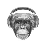 Portrait of Monkey with Headphones. Hand Drawn Illustration. Poster di  victoria_novak