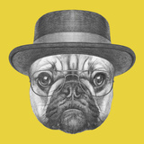 Portrait of French Bulldog with Hat and Glasses. Hand Drawn Illustration. Posters by  victoria_novak